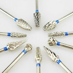 10 Pcs Dental Lab Polishing Bur Drills Tungsten Steel Carbide Burs Burrs 2.35MM $11.99