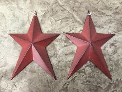 Set of 2 WHIMSICAL BURGUNDY BLACK BARN STARS 8quot; PRIMITIVE RUSTIC COUNTRY DECOR $12.49
