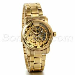 Men#x27;s Luxury Gold Tone Stainless Steel Skeleton Automatic Mechanical Wrist Watch $22.99
