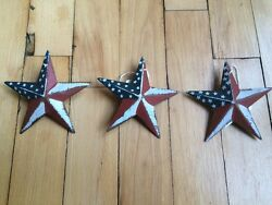 Set of 3 PATRIOTIC AMERICANA BARN STARS 3.5quot; AMERICAN RUSTIC DECOR $9.49