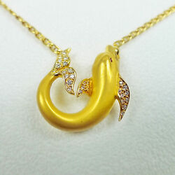 Carrera Y Carrera Dolphin Pendant with Diamond 18K Yellow Gold 17