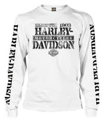 Harley Davidson Men#x27;s Distressed Freedom Fighter Long Sleeve Shirt White $38.95