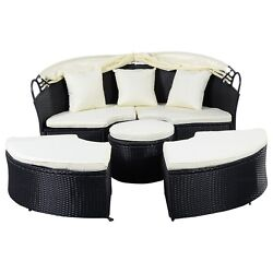 Outdoor Patio Furniture Sofa Round Retractable Canopy Daybed Black Wicker Rattan