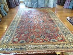 Antique very nice hand knotted wool persian Sarouk rug 8.9 X 14.0