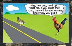 Chicken Warns Duck sign rooster cross the road rustic wall decor wood $14.99