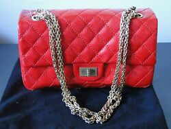 RED CHANEL HAND BAG VINTAGE ORIGINAL WITH PAPER WORK BAG HAS BEEN VERIFIED