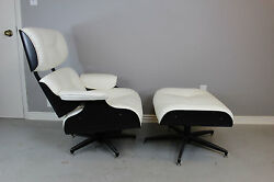 Charles Eames Style Lounge Chair and Ottoman in Black and Ivory
