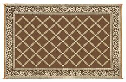 RV Camping Patio Deck Brown Beige Reversible 9' x 12' Mat Outdoors Durable Rug
