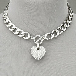 Silver Chain Choker Style Necklace With Paved Rhinestone Heart Pendant $10.29