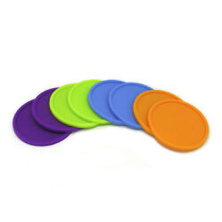 Color Pop Silicone Coaster Set Pack of 8 Reusable Modern Home Office Desk Gift