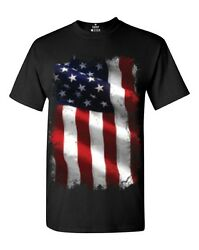 Large American Flag Patriotic T-shirt 4th of July USA Flag Shirts $13.99