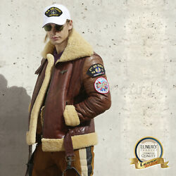 B-3 Men Sheepskin P-51 Leather Bomber Military Fighter Planes Jacket USAAF ARMY