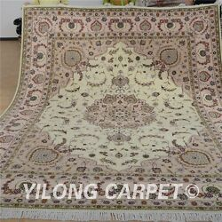 Yilong 8'x10' Handknotted Persian Wool Silk Carpet Medallion Home Use Rug 1312