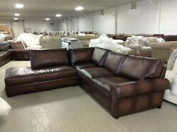 Pottery Barn Turner Leather Sofa Sectional 3 pc burnt walnut love wedge chair