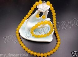 New 10mm Natural Yellow Jade Round Gemstone Necklace Bracelet Earrings Set AAA