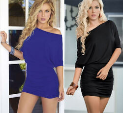 Sexy Women Black & Blue Off One Shoulde Batwing Sleeve Package Hip Blouson Dress $9.59