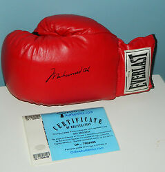MUHAMMAD ALI SIGNED GLOVE RED LEATHER SIZE 14 EVERLAST ALI AUTO ONLINE AUTHENTIC