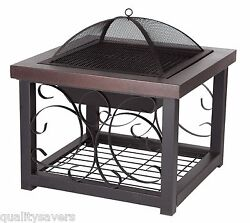 Outdoor Fire Pit Garden Patio Backyard Fireplace Wood Burning Heater Deck Table