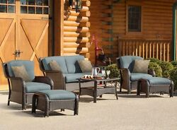 Outdoor Lounge Furniture Garden Wicker Chairs Cushion New Best Tan Patio Set