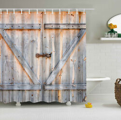 Rustic Barn Shed Farm Doors Country Decor Fabric SHOWER CURTAIN Set Wood Board