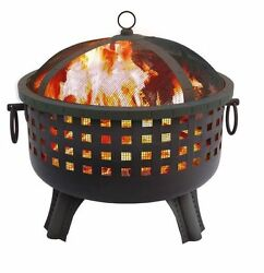 Patio Fire Pit Outdoor Garden Fireplace Portable Modern Large Round Black Poker