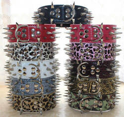 Spiked Studded Dog Collar Leather Pet Collars for Big Dog Pitbull Boxer S M L XL GBP 9.99
