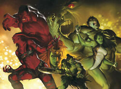 Hulk Smash Marvel Comics AP 5 20x28 Canvas Signed NEW She Red Giclee