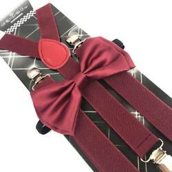 Burgundy Suspender and Bow Tie Set Tuxedo Wedding Formal for Adults USA $8.99