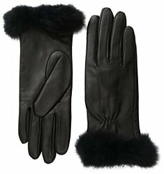 Glove.ly Womens Leather Gloves with Rabbit Fur Black Large