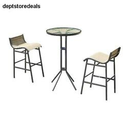 Outdoor Bar Height Coffe Table n Chairs Set Furniture Bistro Barbeque Patio 3 Pc