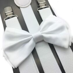 White Suspender and Bow Tie Set Wedding Tuxedo Formal for Adults Men Women USA $8.99