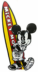 Mickey Mouse Surfs Up Original Acrylic on Board Allison Lefcort 69x34 Signed NEW