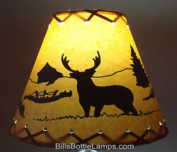 DEER Table Light Cabin Cottage LAMP SHADE Clip On Bulb Style 9quot; inch Laced Cone $25.99