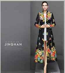 Women Luxury Embroidered Cashmere Jacket Full Long Coat Outwear HOT Overcoat #26
