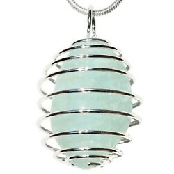CHARGED Aquamarine Crystal Perfect Pendant™ 20quot; Silver Chain Selenite Heart $17.99