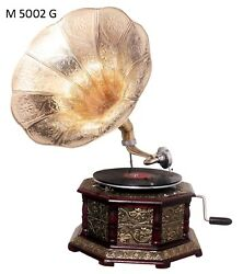 Replica Gramophone Embossed 78 rpm Hex phonograph Brass Horn HMV Vintage Wind up