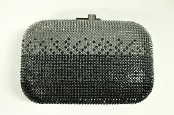 NIB JUDITH LEIBER COUTURE MINAUDIERE OMBRE CLUTCH SILVER BLACK CRYSTALS 2 TONES