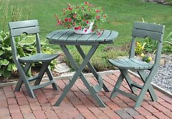 Patio Folding Cafe Bistro Set Table 2- Chairs Sage Outdoor Garden Balcony
