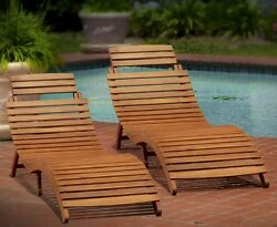 Outdoor Wooden Chaise Lounge Chairs Folding Pool Christopher Knight  (Set of 2)