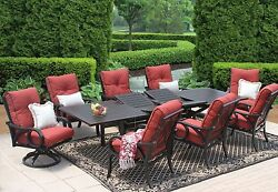 OUTDOOR PATIO FURNITURE 9PC DINING SET 44X130 RECT EXTEND TABLE
