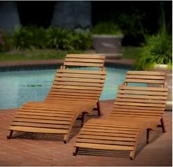 Outdoor Wood Folding Chaise Lounge Patio Chair Set Deck Furniture Backyard Body
