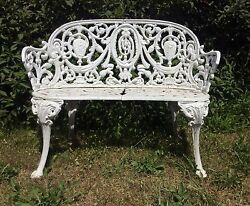 Antique 3 Foot Cast Iron Bench Beautiful & Excellent Condition Patio Sun Room