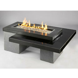 Uptown Black Crystal Fire Pit Table with Tile Top and Rectangular Burner Granite