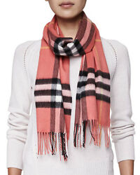 NWT Authentic Burberry Women Giant Check 100% Cashmere Scarf Coral Pink 168x30cm