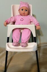 Tollytots Baby Doll High Chair Plastic Metal + You & Me Doll W Sounds