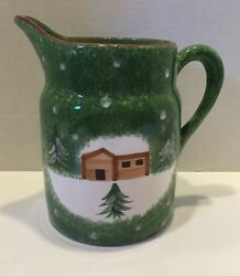 The Cellar Log Cabin Christmas 56 Oz Pitcher Fine China