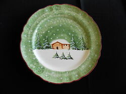 Macys The Cellar Log Cabin Winter Christmas Platter Serving Plate Dish Large 13