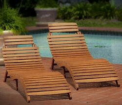 NEW Set of 2 Sunbathing Chaise Lounge Chair Natural Wood Folding Portable Pool