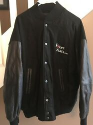 POKERSTARS POKER STARS.COM LEATHER WOOL VARSITY JACKET MENS XXL