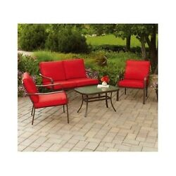Patio Set Cushioned Outdoor Lawn Dining Furniture Table Chairs 4-Pieces Seats 4